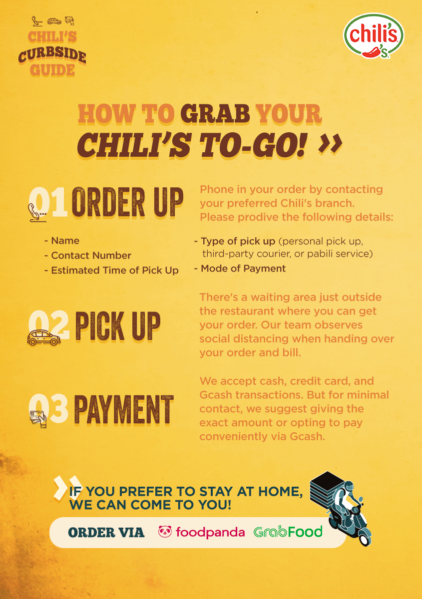 Chili's How-To Curbside Guide E-flyer with Delivery Option